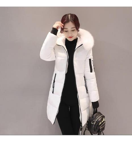 2019 New Winter Women Basic Jacket Hooded Thick Warm Medium long   Down   Cotton   Coat   Fashion Long sleeve Slim Big yards Parkas