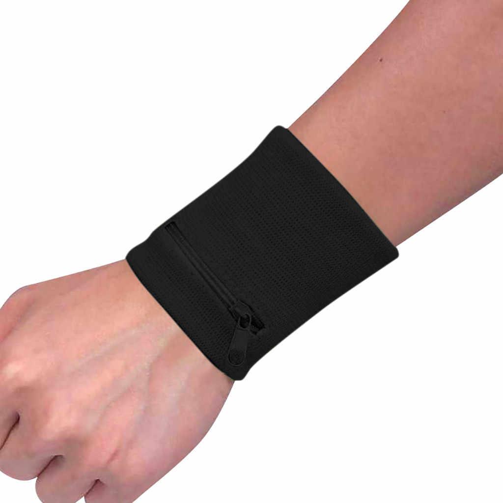 ファッション新レディース腕時計財布ポーチバンドジッパーランニング旅行ジムサイクリング安全コイン財布変更スポーツバッグ # Y