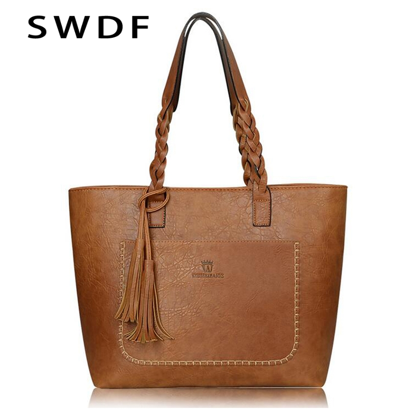 SWDF 2019 Famous Brand Leather Handbag Bolsas Mujer Large Vintage Tassel Shoulder Bags Women Shopping Tote Bag Purse Sac A Main