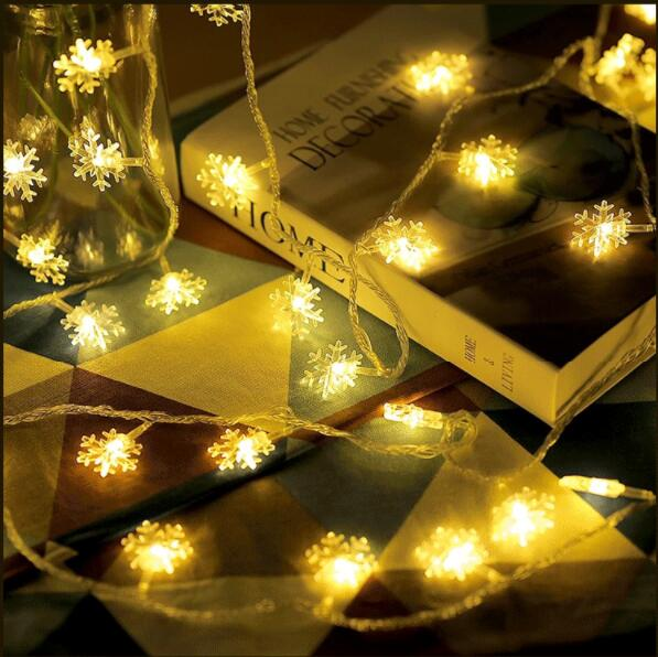 Us 1 49 30 Off Small Snowflake Light Snow Flakes Led String Fairy Lights Lamp Xmas Party Home Decoration Battery Ed Indoor In