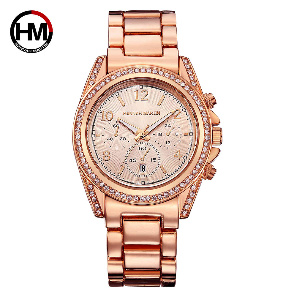 Hannah Martin Women Watches Dropshipping 2017 Fashion Lady Watch for Woman Steel Watchband Rose Gold Wristwatch with Calendar skone fashion simple watches for women lady quartz wristwatch stainless steel band watch for woman relogio femininos