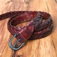 חגורה קלועה נשים בעבודת יד עור אמיתית באיכות גבוהה גבירותיי חגורה קלועה אישה דק חגורת החגורה נשית חגורת Ceinture Femme WBT0073