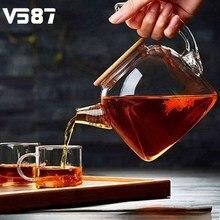 1000 ml glas wasserkocher hohe kapazität handwerk kochgeschirr wasserkrug chinesische blume teekanne filter bambus deckel hitzebeständige