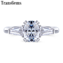 Transgems 10K White Gold 5*7mm Cushion Cut Captivating F Color Moissanite Engagement Ring for Women Three Stone