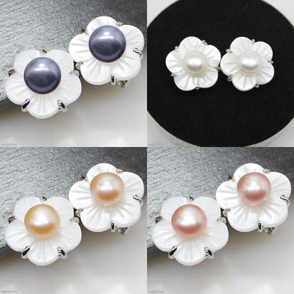 Hot Sale Free Shipping >>>>black White Pink Purple Genuine Pearl Shell  Flower
