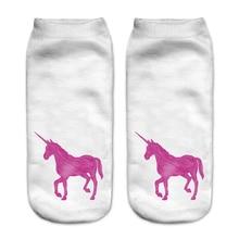Women Socks Unicorn 3D Print Funny Socks Hot Sale Printed For Short Ankle Socks Female Low-Cut Socks Spaort