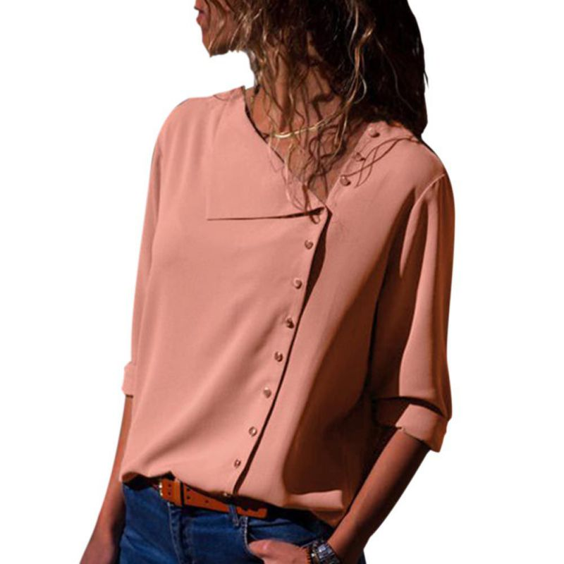 New Women Casual Solid Long Sleeve Plus Size   Blouse     Shirt   2018 Women Autumn Chiffon Blusas Botton Tops Camisa Feminina
