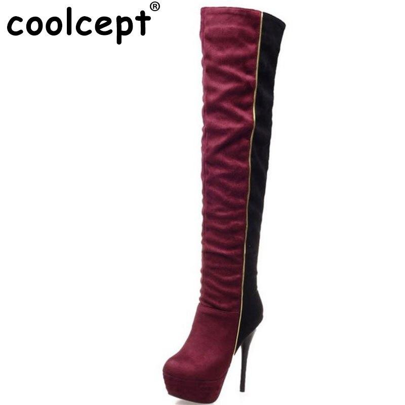 Coolcept Size 31 46 Women Over Knee Boots High Heel Winter font b Bota b font