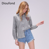 Dioufond Women Blouses Cotton Heart Embroidery Long Sleeve Shirt Women Cardigan 2017 New Fashion Summer Ladies Office Blouse