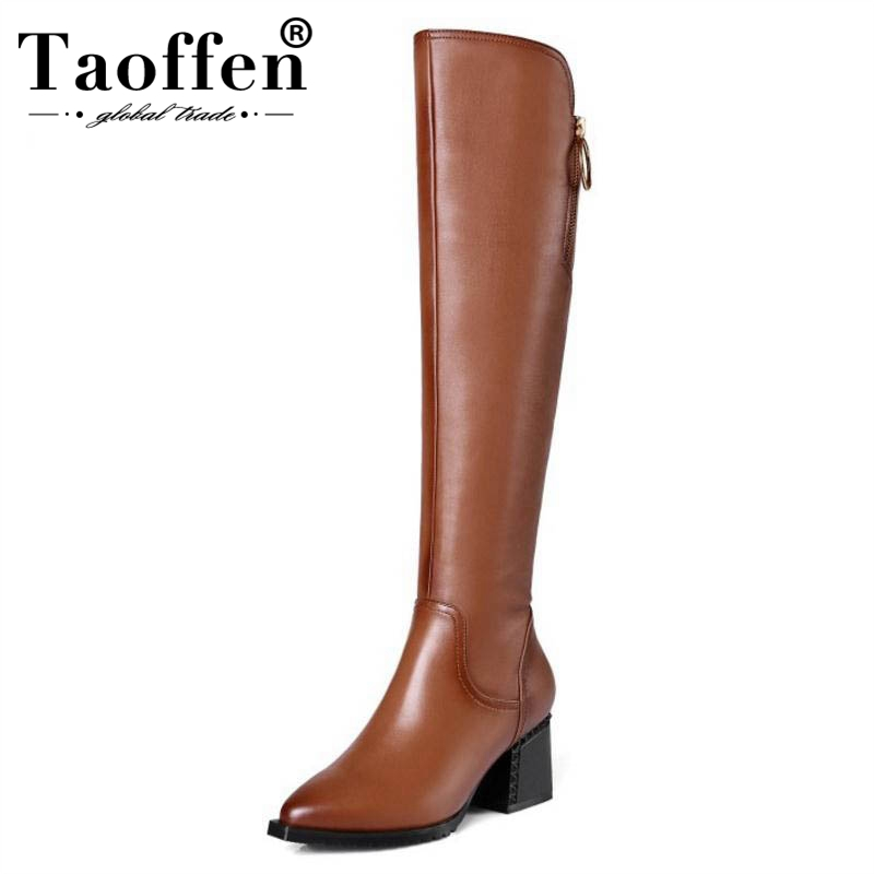 Taoffen Women Knee High Boots Genuine Leather Shoes Women Winter Warm Thick High Heel Boots Sexy