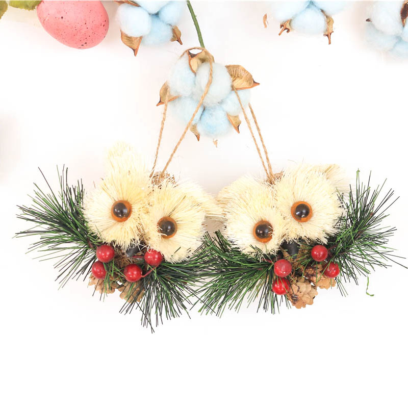 35 owl handmade new year decorations christmas tree pendant drop ornaments navidad bird with berries