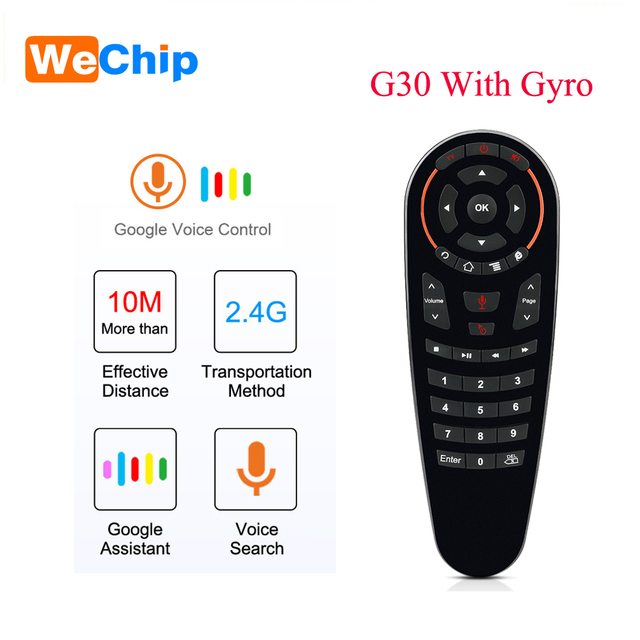 Wechip G30 קול שלט רחוק 2.4G Wireless אוויר עכבר מיקרופון גירוסקופ IR למידה עבור אנדרואיד טלוויזיה תיבת HK1 H96 מקסימום X96 מיני