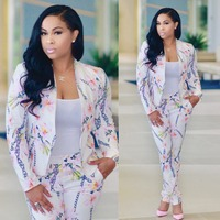 Plus Size Catsuits Fashion Full Sleeve Blazer And Long Pant 2 Piece Set Jumpsuit Women Coat