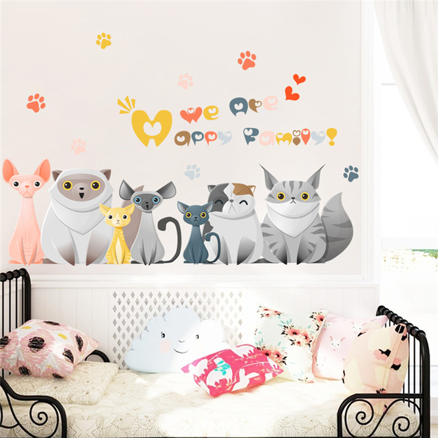 cartoon cats family paw car door wall decals for kids rooms home decor 3d  effect animals