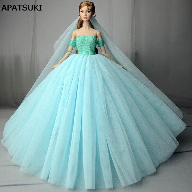 Niebieski Suknia ślubna Dla Lalka Barbie Odzież Księżniczka Suknie