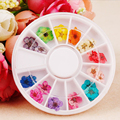 Dried Flowers Stickers For Nails Art Decoration DIY Tips 12 Colors Nails Accessoires Small Flowers Nails Rhinestones Decorations