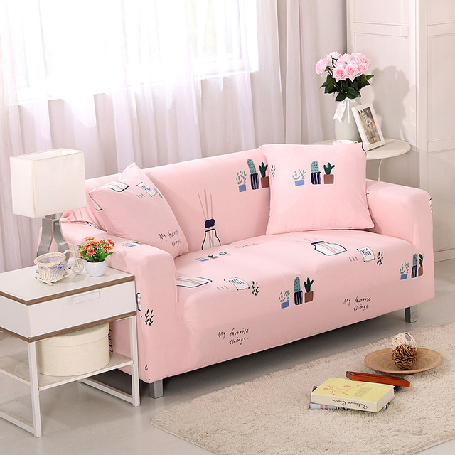 New Flower Printed Pink Sofa Covers Slip resistant Sectional Elastic ...