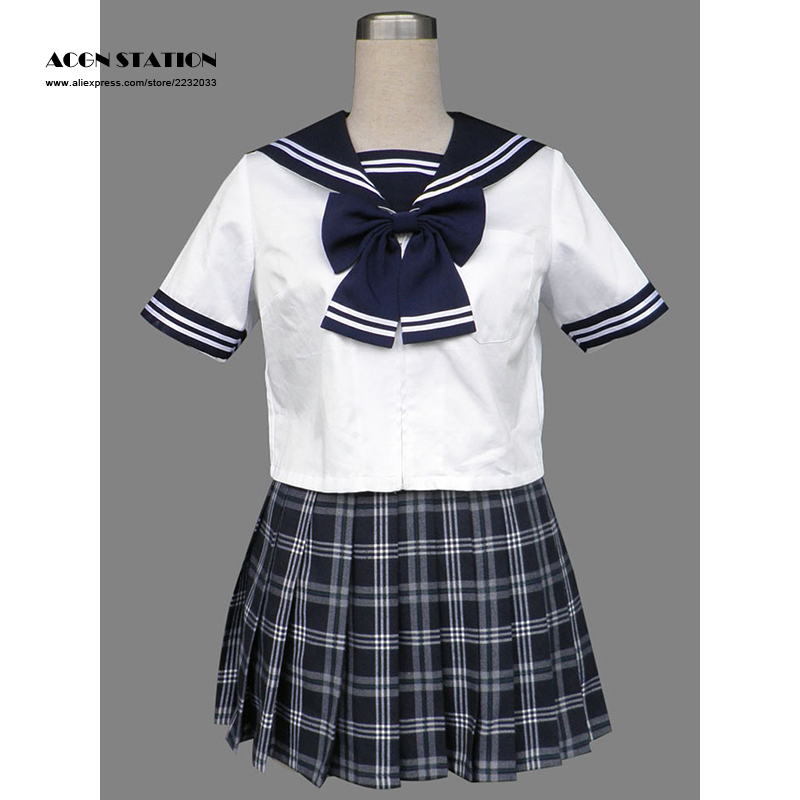 2018 Free Shipping Blue Check Lovely Short Sleeves Girl School Sailor Uniform Halloween Cosplay Costume Customize for plus size