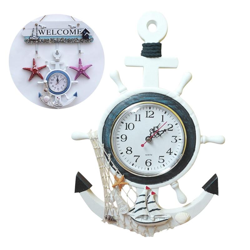 Nautical Vintage Small Wall Clock Wooden Mediterranean-Style Retro Sea Anchor Clocks Gift Home Decor  Table Desktop Decoration