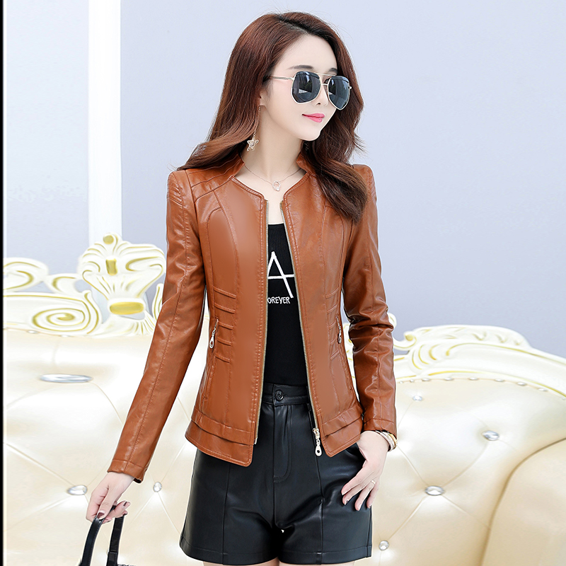 Autumn   Leather   Jacket Female Casual Long Sleeve Faux Short Coat Fashion Zipper Plus Size PU Bomber Biker Slim Jacket Femininas