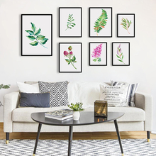 Bianche Wall Watercolor Flower and Leafy Plants are Simply A4 Canvas Painting Art Print Poster Picture Home Decoration