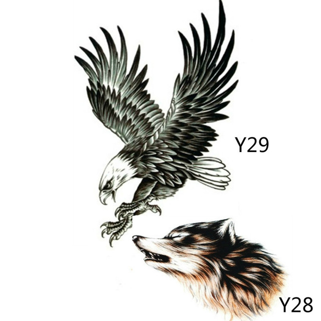 cbe1744b0 2X Black Eagle Tattoo Stickers And 3D Sketch Horrible Brown Howl Wolf Head  Designs Cool Chest Body Art Temporary Tattoo Stickers