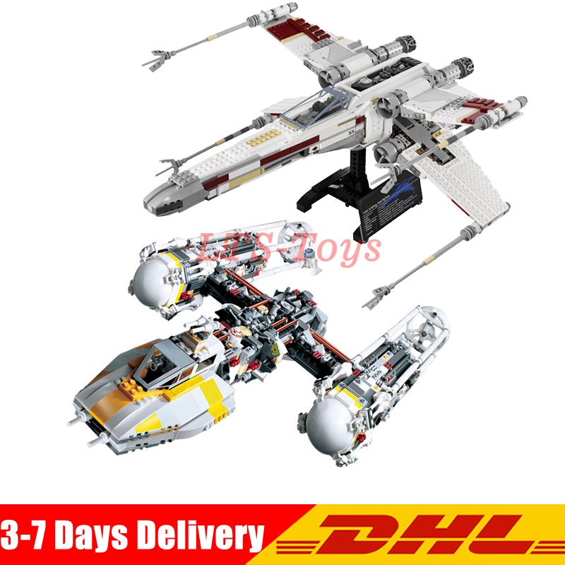 LEPIN 05039 1616PCS UCS The X-wing Rebel Red Five X-wing Starfighter Set +05040 Y-wing Attack Model Building Set Blocks Bricks wing