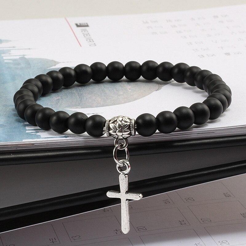 Helder Fashion Boho Turkoois Armband Stijl Kruis Hanger Armband Mannen Natuurlijke Matte Vulkanische Lava Rock Stone Kralen Armbanden Vrouwen