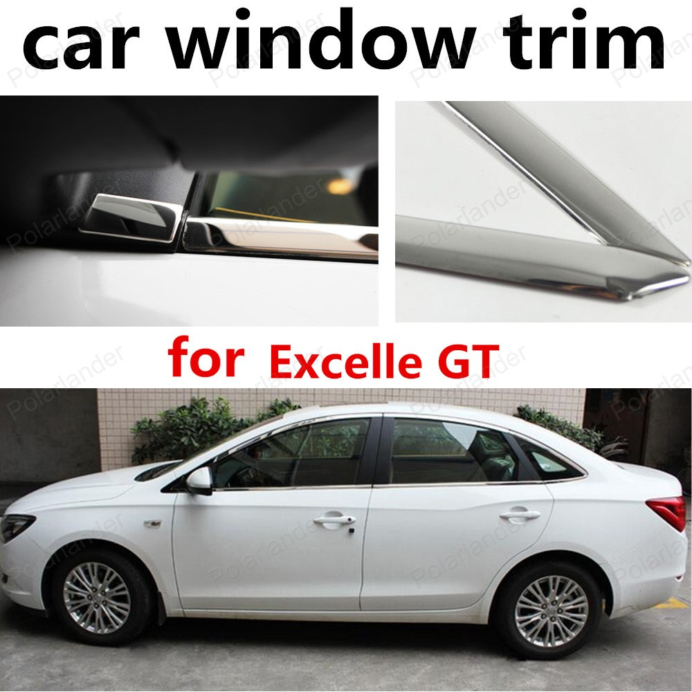 new! stainless steel car window trim without column for Excelle GT 2015 2016 Decoration Strips car styling stainless steel for volkswagen polo window trim without center pillar decoration strips