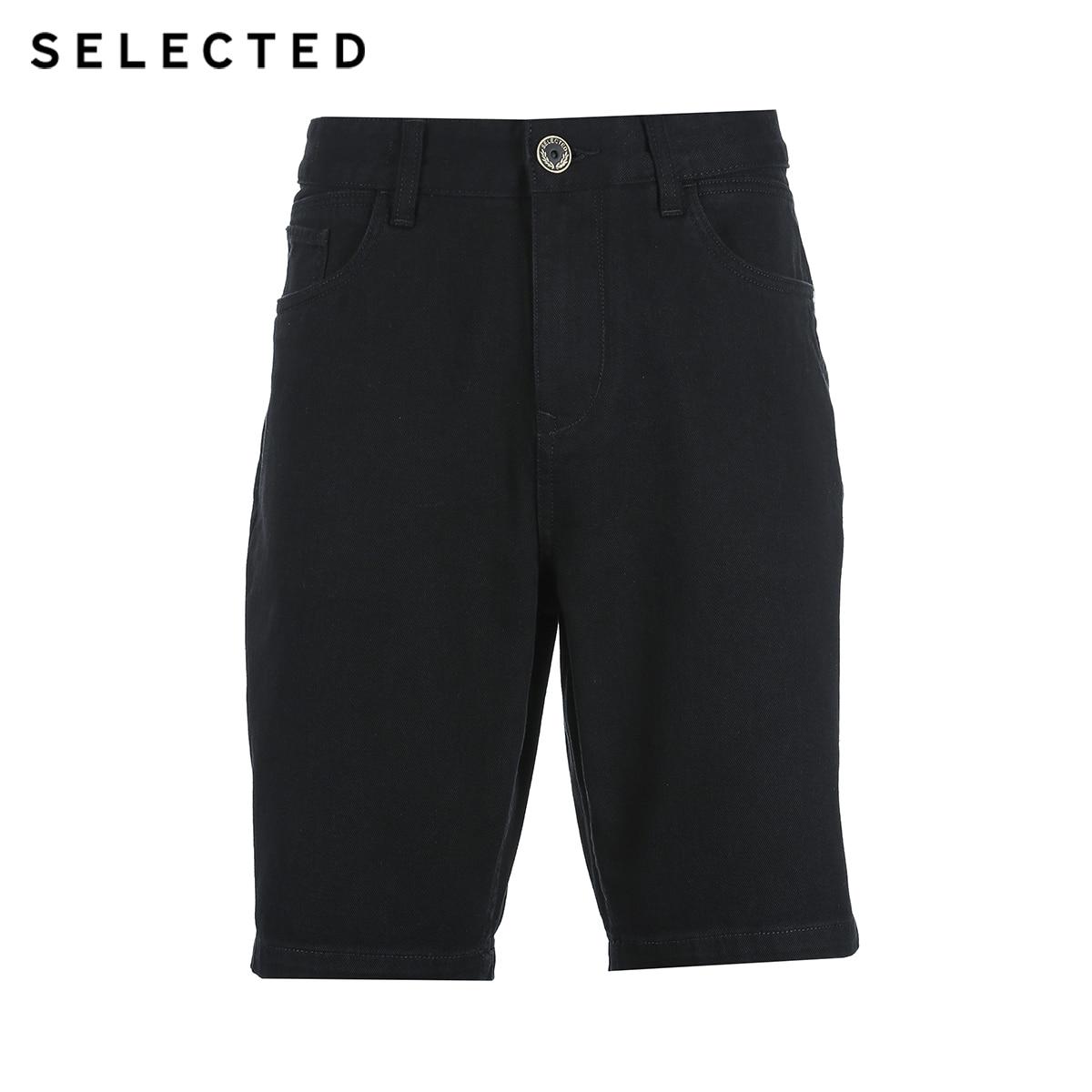 Image 4 - SELECTED Mens Spring 10% Cotton Black Washed Finish Denim Shorts C4182S3517Casual Shorts