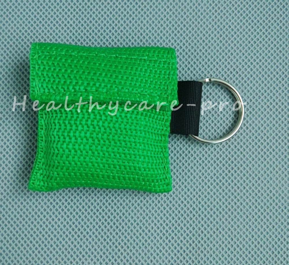 ФОТО 50 PCS /lot CPR MASK WITH KEYCHAIN CPR FACE SHIELD For Cpr/AED GREEN COLOR NEW