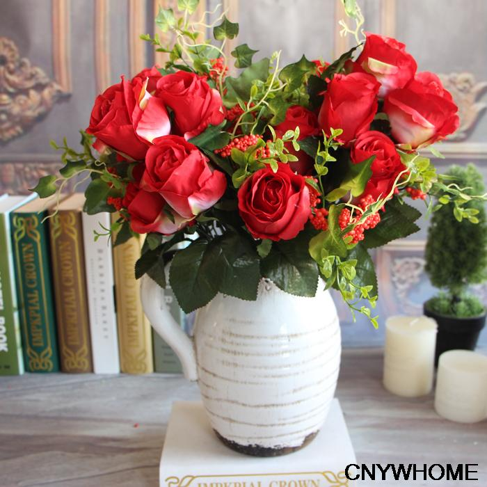 Free shippingh 9 Heads Spring Toffee Rose  Decorative Silk Flowers Wedding/Home/Party Decoration Bouquet