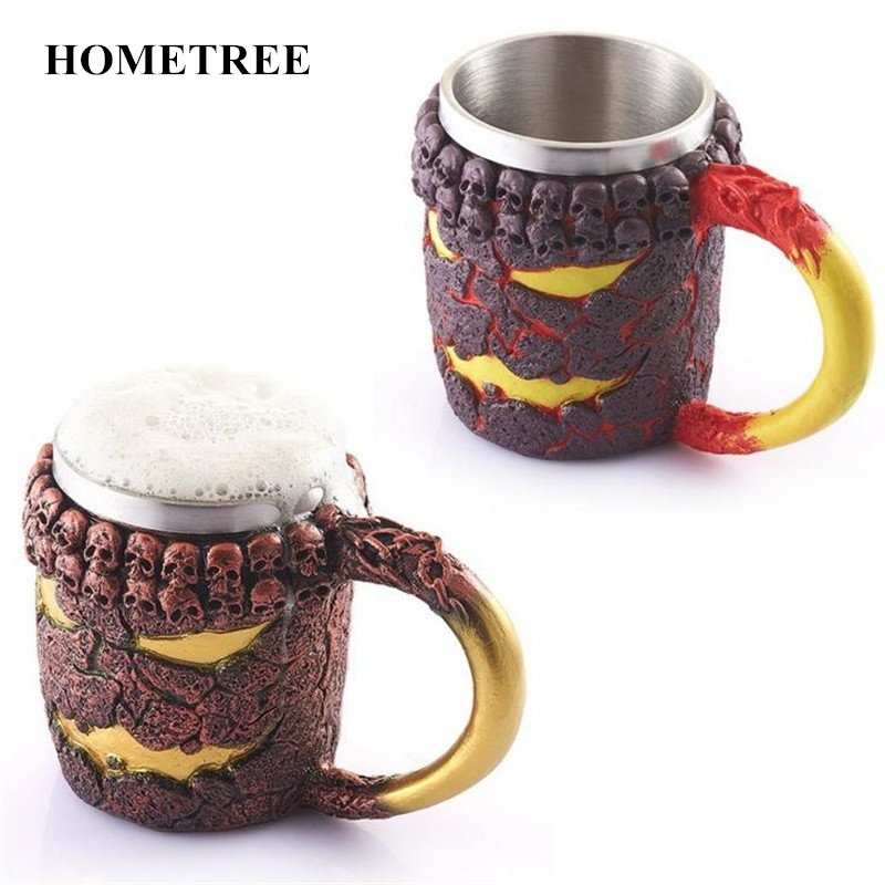 HOMETREE High Quality Creative Halloween Antique Bronze Color Monster <font><b>Cup</b></font> Lava Demon Stainless Steel <font><b>Inside</b></font> Beer Coffee Mug H409