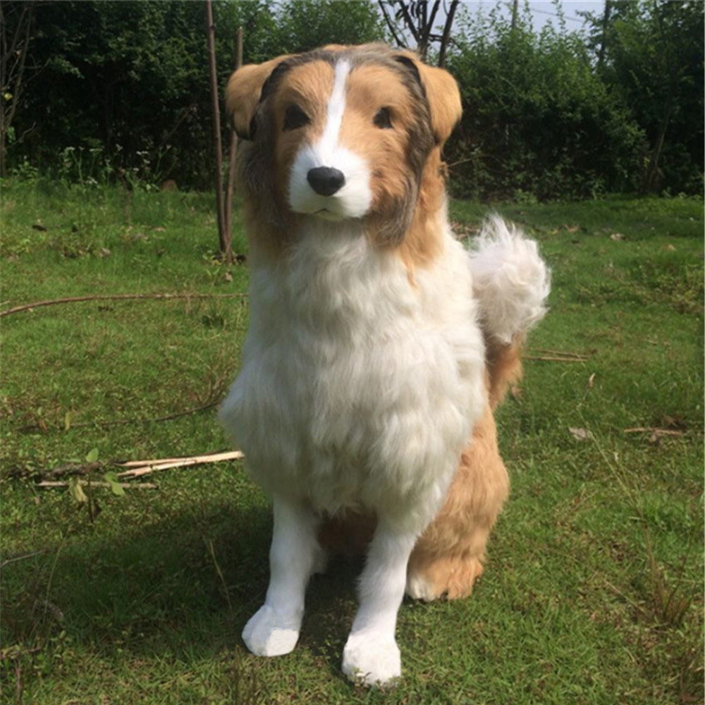 Fancytrader Realistic Plush Toys Rough Collie Big Stuffed Lying Dogs Animals Doll Nice Present Home Decoration Props
