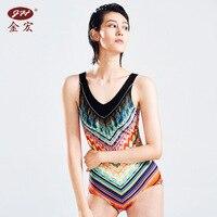 JH 2017 Swimwear Women One Piece Swimsuit Girls Plavky One Piece Suits Polster Swimsuits Digital Gradient