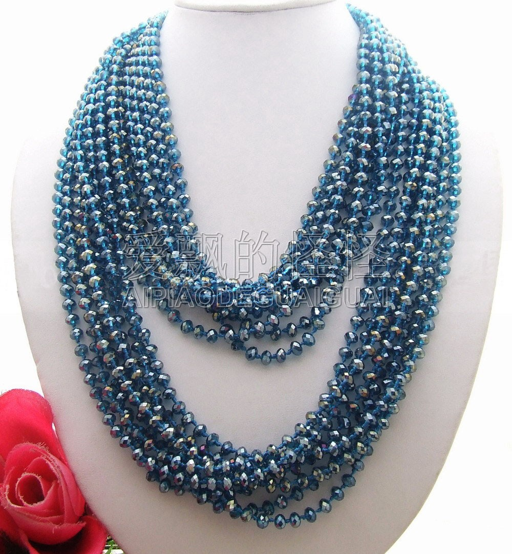 N040202 Beautiful! 48 Blue Crystal NecklaceN040202 Beautiful! 48 Blue Crystal Necklace