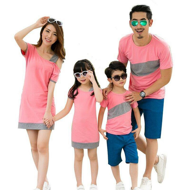 Father Son Family Look Clothing Special Shoulder For Mother Daughter Dresses Family Matching Outfits T-shirt For Family Clothes