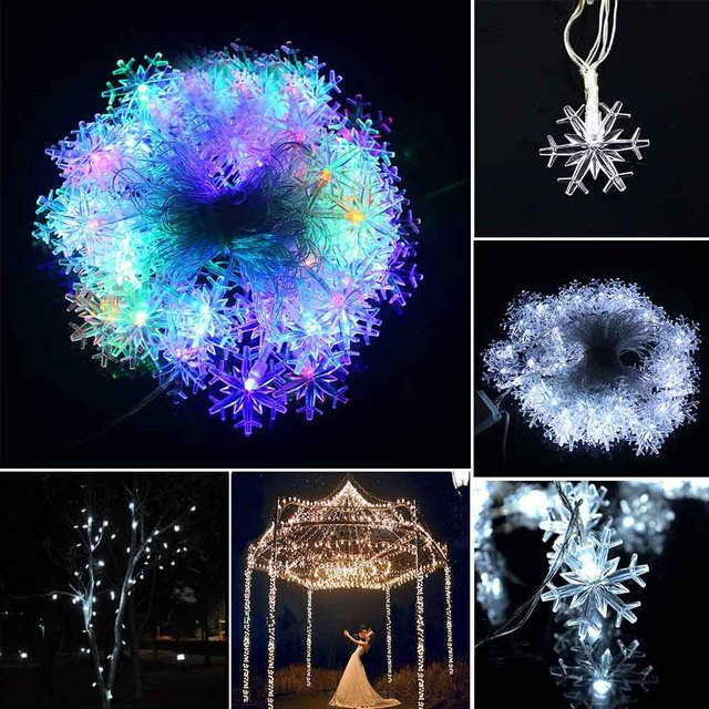Multicolor 10m Christmas Lights Snowflake Lamp Holiday Lighting For