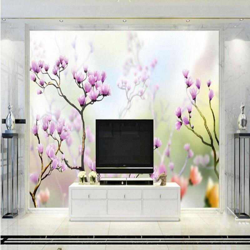 o envio gratuito de primavera flor de magnlia d tv quarto pano de fundo papel de