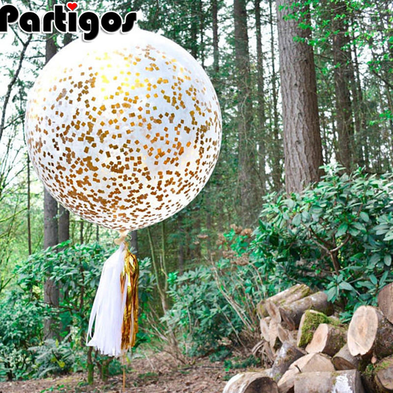 2pcs 36inch Gold Confetti Filled DIY Kit Latex Balloons Gold Mylar Flakes Clear Balloon Wedding Enagament Propose Decoration