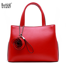 BRIGGS Genuine Leather Women Shoulder Bag Cow Leather Fashion Flowers Crossbody Bag Women Famous Brand Designer Ladies Hand Bags briggs new 2018 vintage genuine leather women bag plaid natural cow leather shoulder bag famous brand women handbag casual tote