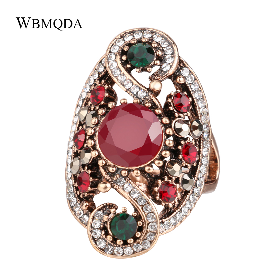 Vintage Boho Luxury Big Stone Ring Antique Gold Crystal Finger Rings Ethnic Turkish Indian Party Jewelry Women Accessories