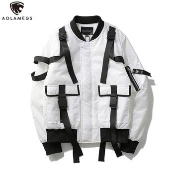 Aolamegs Men Jacket Solid Ribbon Bomber Jacket Windbreaker Outwear Youth Harajuku Pockets Style Loose Jackets Zipper Coat цена 2017