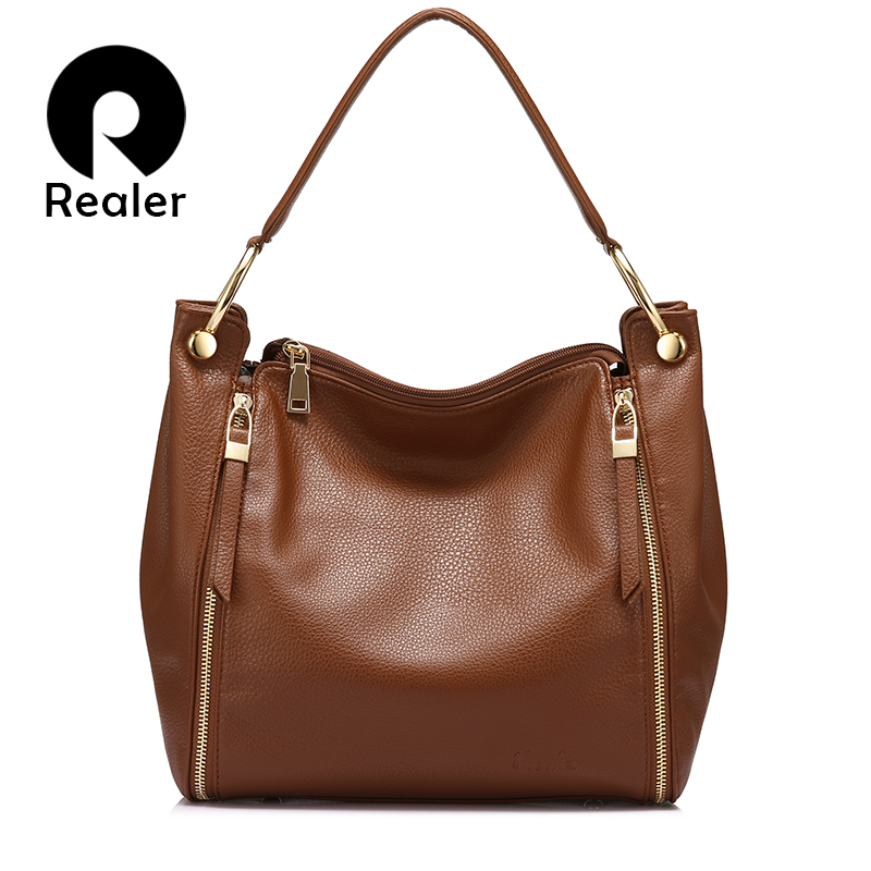 REALER Luxury Handbag Women Bag Fashion Large Shoulder Bags High Quality Casual Zipper Totes Ladies Top-handle Bag Bucket Female