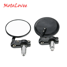 MotoLovee 1 pair Universal Motorcycle Mirror Aluminum Black 22mm Handle Bar End Rearview Side Mirrors Motor Accessories