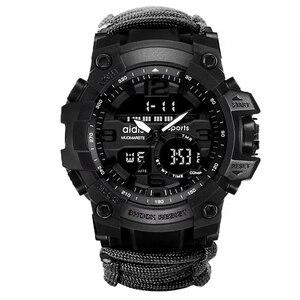 Image 5 - Addies ショックスポーツウォッチビッグダイヤルクォーツデジタル軍事防水男性腕時計男性時計スポーツメンズ腕時計コンパス
