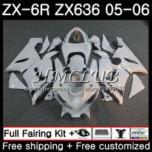 Средства ухода за кожей для KAWASAKI глянцевый белый ниндзя ZX 6R 600CC 6 R ZX636 2005 2006 55HC. 9 ZX-636 ZX6R 05 06 ZX600 ZX 636 ZX-6R 05 06 обтекатель