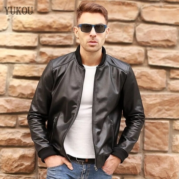 Mens Jackets Natural COW Leather Collar Business Men'S Wear 100% Leather High-Quality Coat Best Sellers