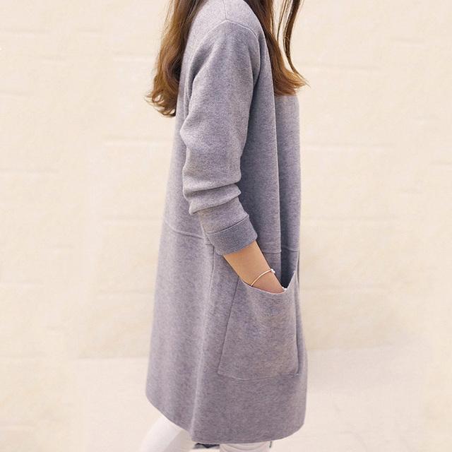 OHRYIYIE Women Sweater Long Cardigan 2017 New Fashion Autumn Winter Long Sleeve Loose Knitted Cardigan female Sweaters Long Coat