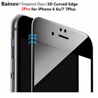 Bainov 2Pcs/Lot Carbon Fiber 3D Curved Edge Coated Tempered Glass For iPhone 6 6S Plus Screen Protector Film For iPhone 7 7plus